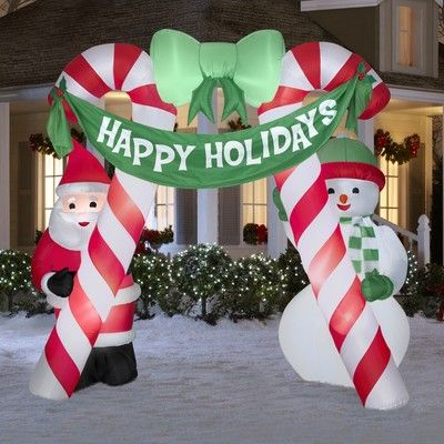 Rare christmas 10 ft santa snowman archway inflatable for Motor for inflatable decoration