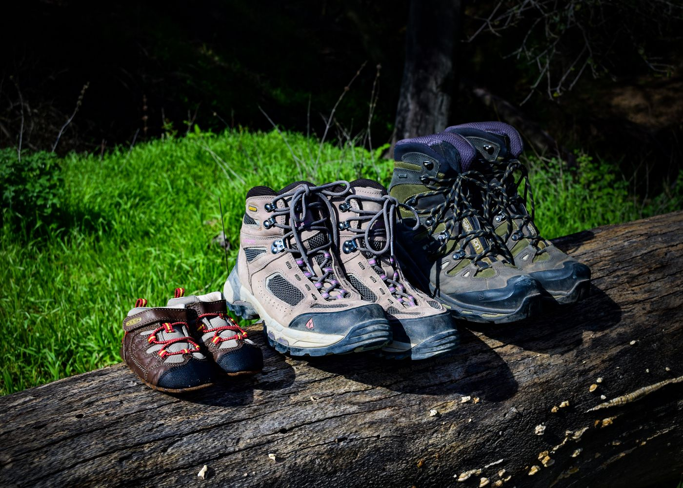 Hiking Boots on a log for a baby