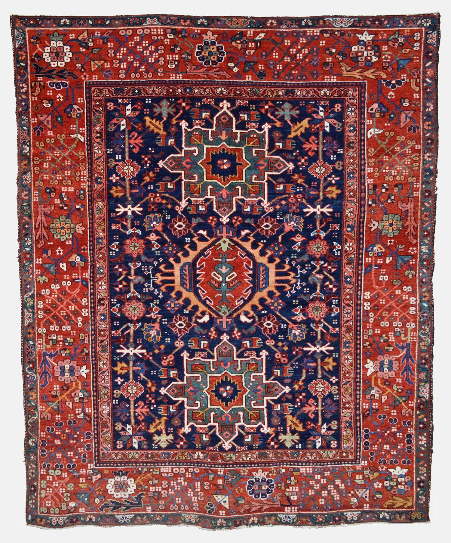 An Antique Persian Karaja Rug With A