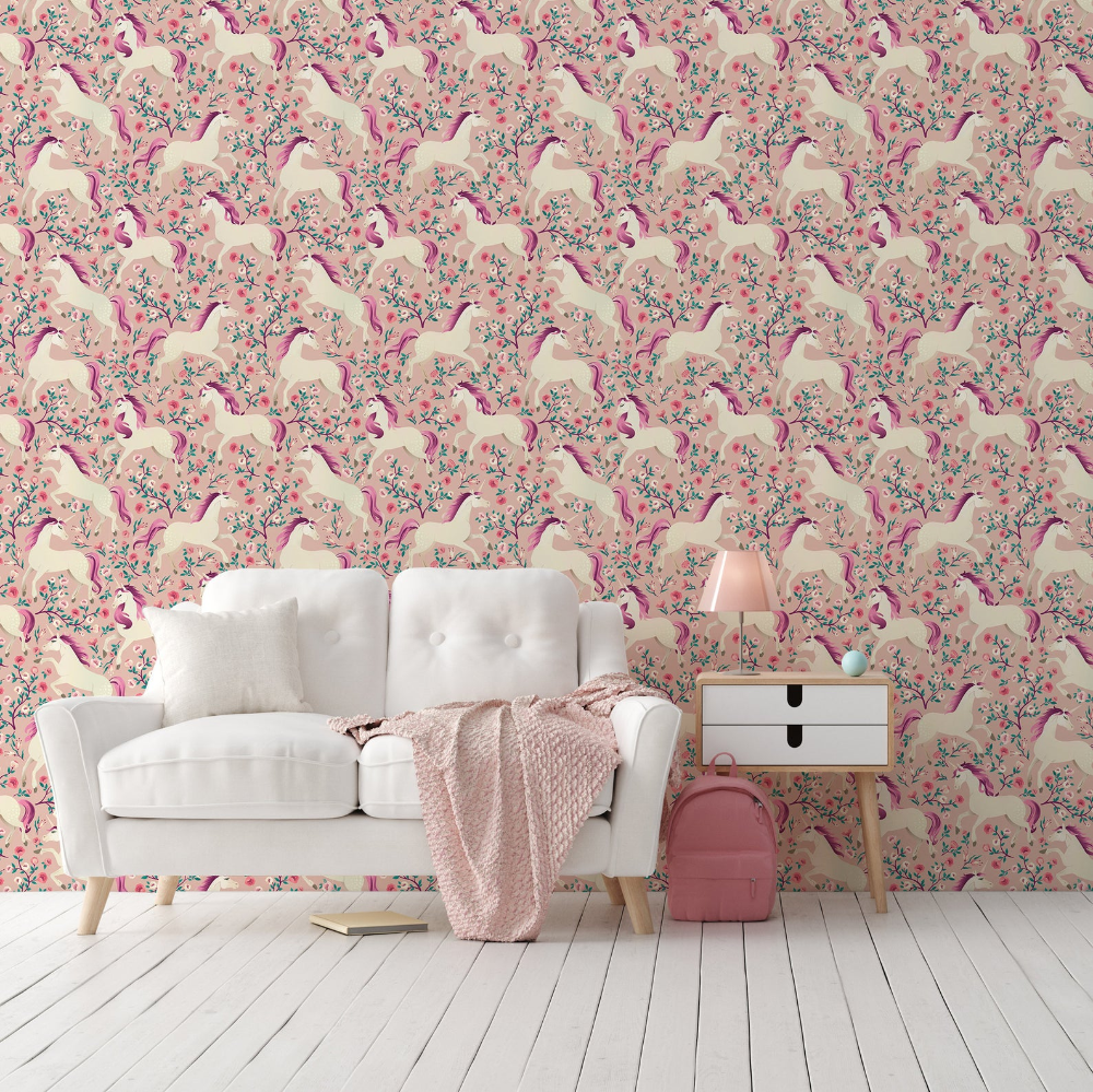 Unicorn Peel Stick Wallpaper Pink Flowers Self Adhesive Etsy In 2020 Peel And Stick Wallpaper Textured Walls Decor