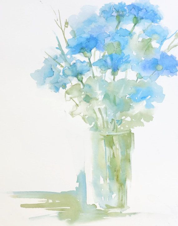 Light Wall Art Blue Bouquet Of Flowers In A Vase Cornflower