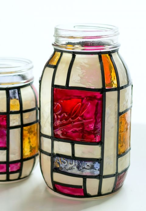 mondrian stained glass mason jars crafts pinterest gl ser bemalen und glas. Black Bedroom Furniture Sets. Home Design Ideas