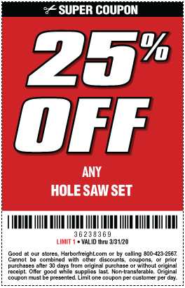 Save 25 Off Any Hole Saw Set In 2020 Hole Saw Harbor Freight Tools Save