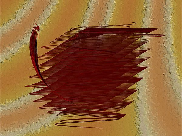An interesting abstract in deep red over a textured background.