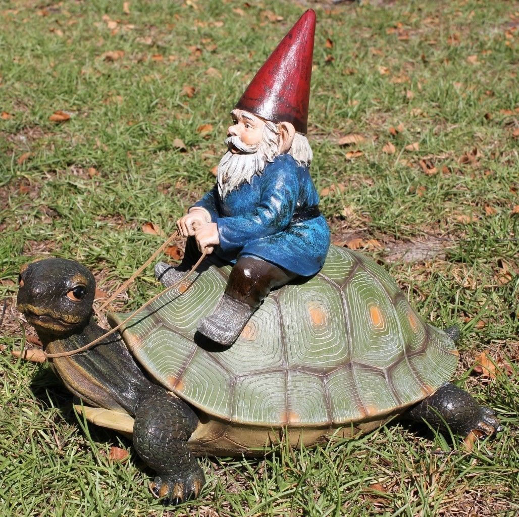 Gnome Garden: New Gnome Riding Turtle Garden Statue Sculpture Figurine