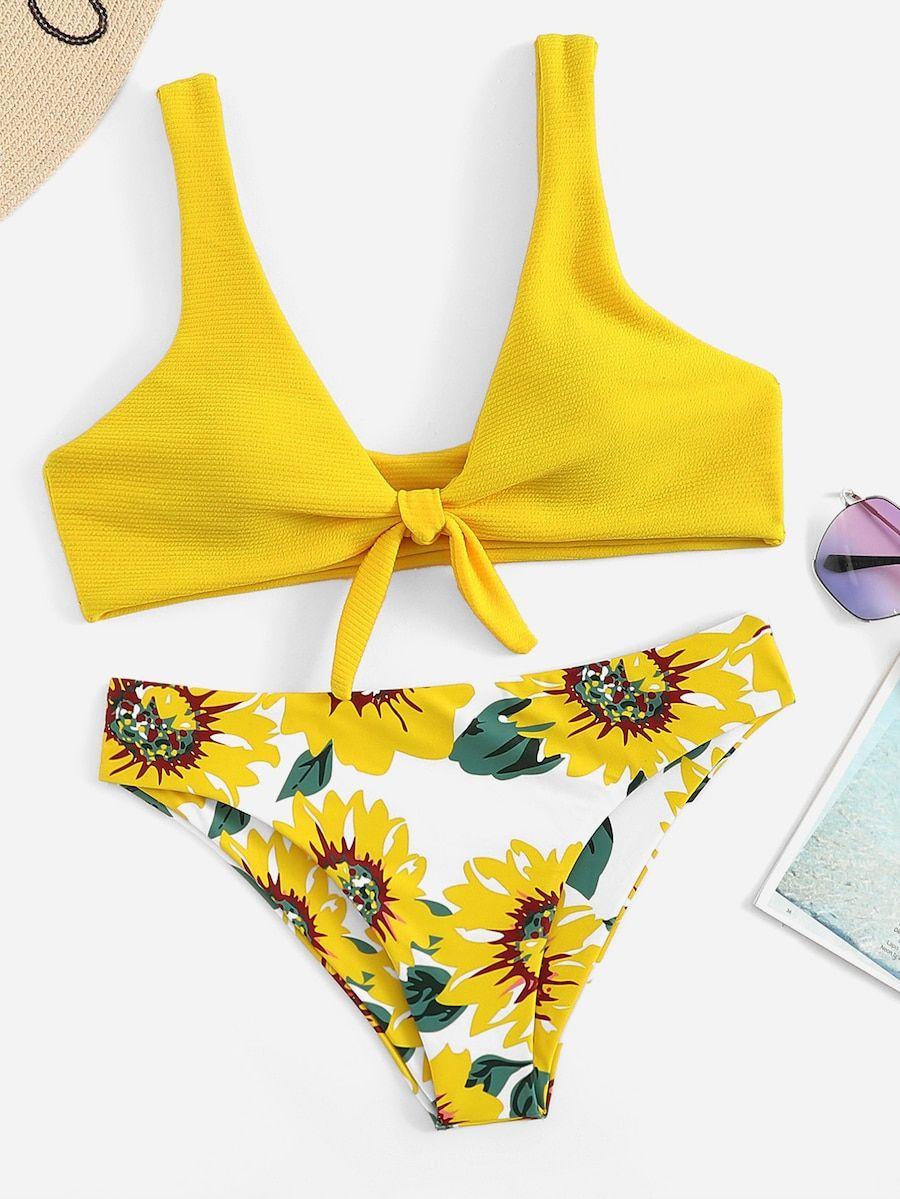 beae3565ff Knot Front Top With Floral Pattern Bikini -SHEIN(SHEINSIDE) | Swim ...