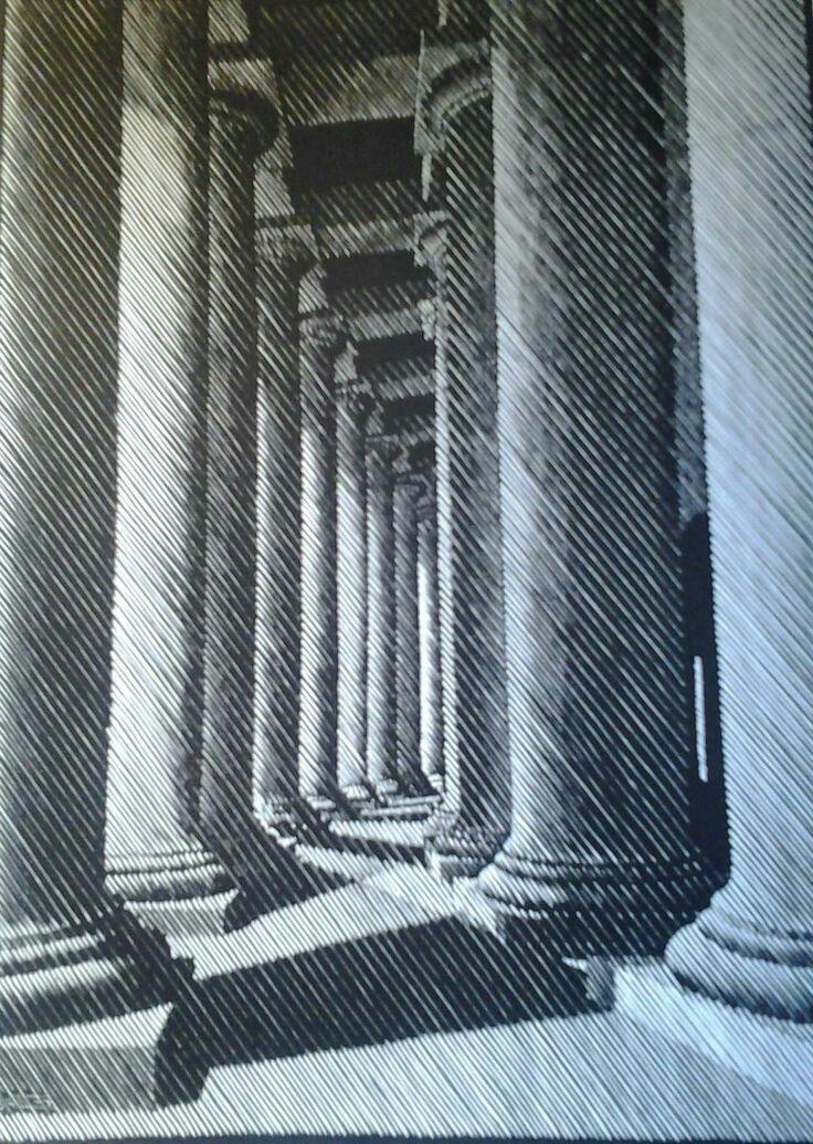 Escher,Notturno romano,colonnato di s.pietro 1934 ,xiligrafia