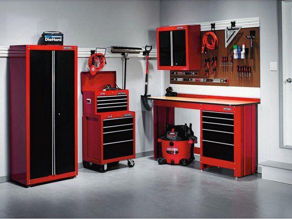 garage organization ideas black red modern cabinets