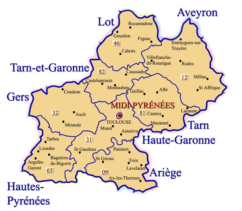 Map of midi pyrenees showing the departments of ariege - Centre bouddhiste haute garonne ...