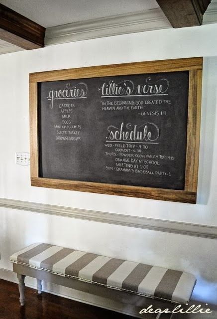 An Oversized Chalkboard And Bench In The Kitchen By Dear Lillie Kitchen Chalkboard Chalkboard Decor Framed Chalkboard Walls