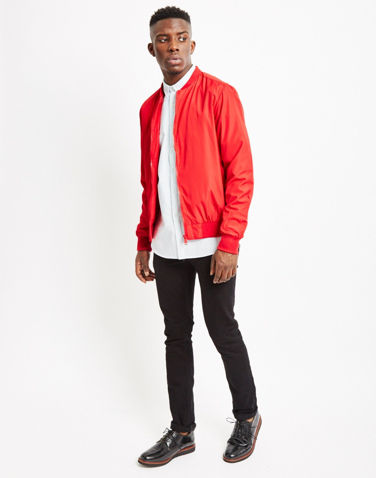 The Idle Man MA-1 Bomber Jacket Red in regular fit. | Shop men's ...