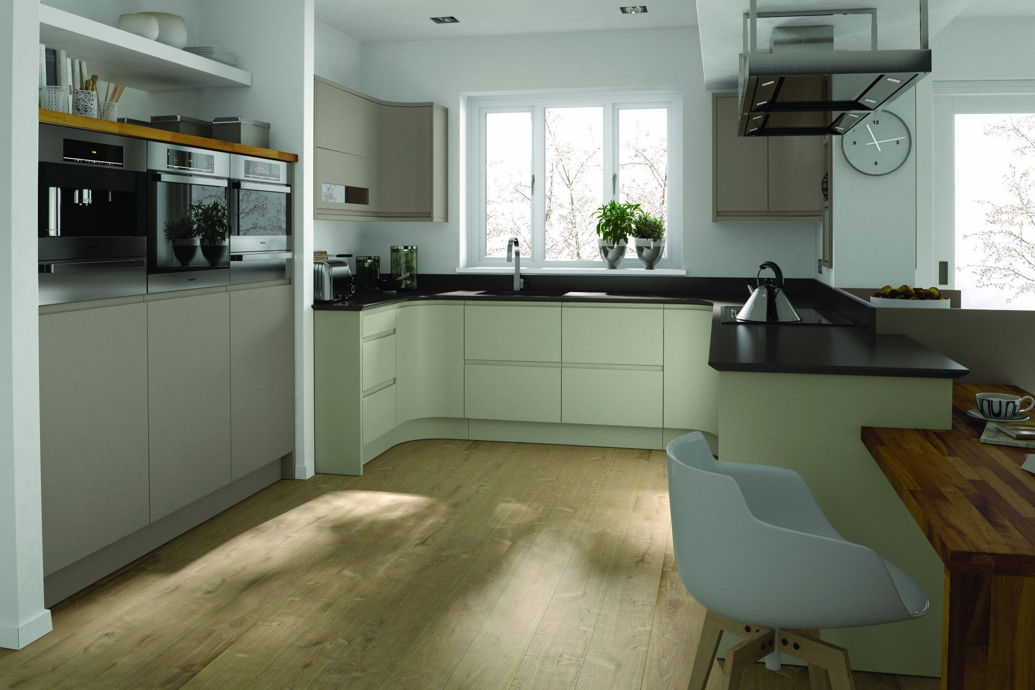 Nice looking kitchen made of Almond and Stone grey Remo