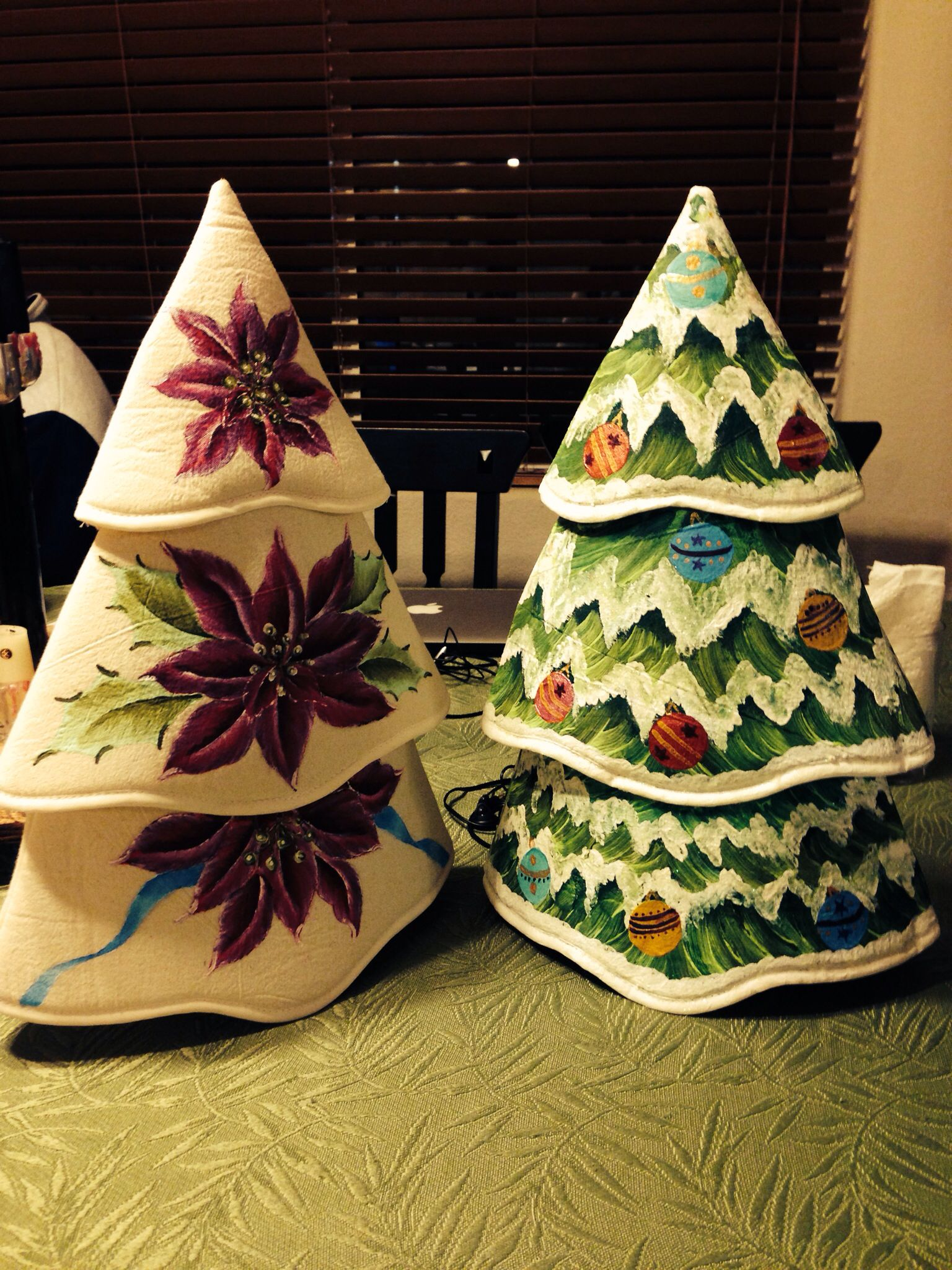 Hand made Christmas tree wine bottle covers. Makes any center table pretty.
