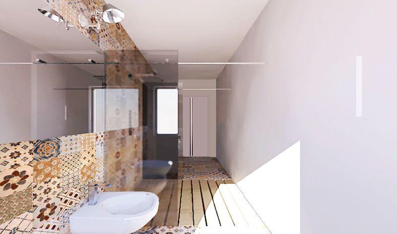 Una doccia passante per un bagno stretto e lungo Bagni
