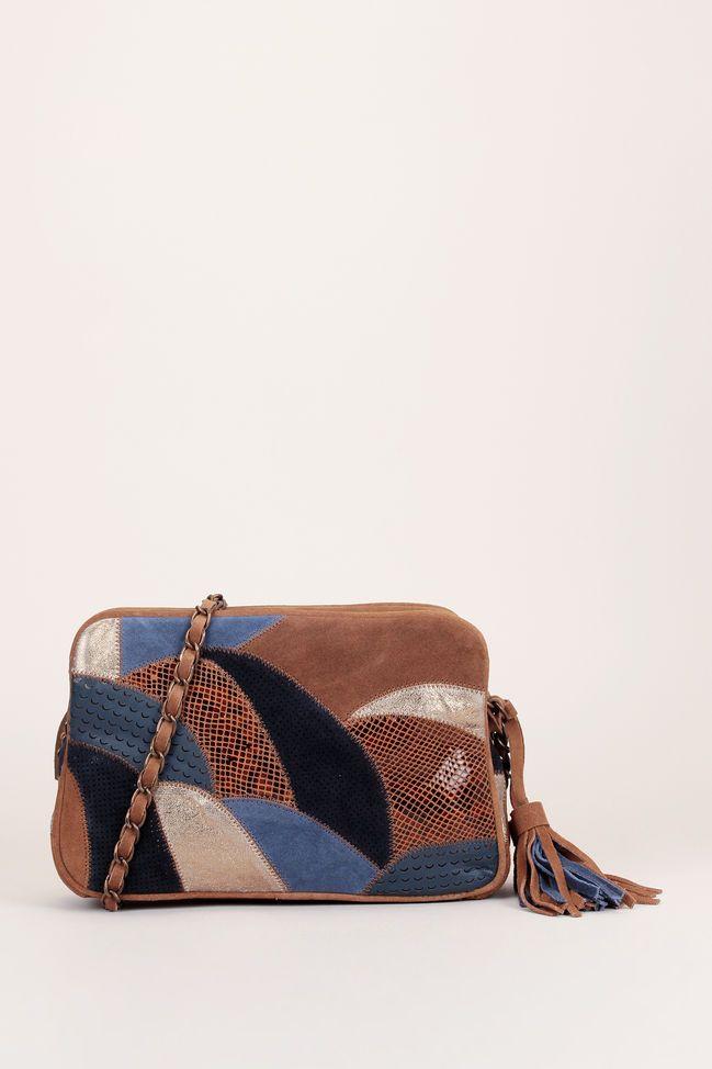 1b539127fa Besace en cuir nubuck marron patchwork bleu/reptile/perforé Ettore ...