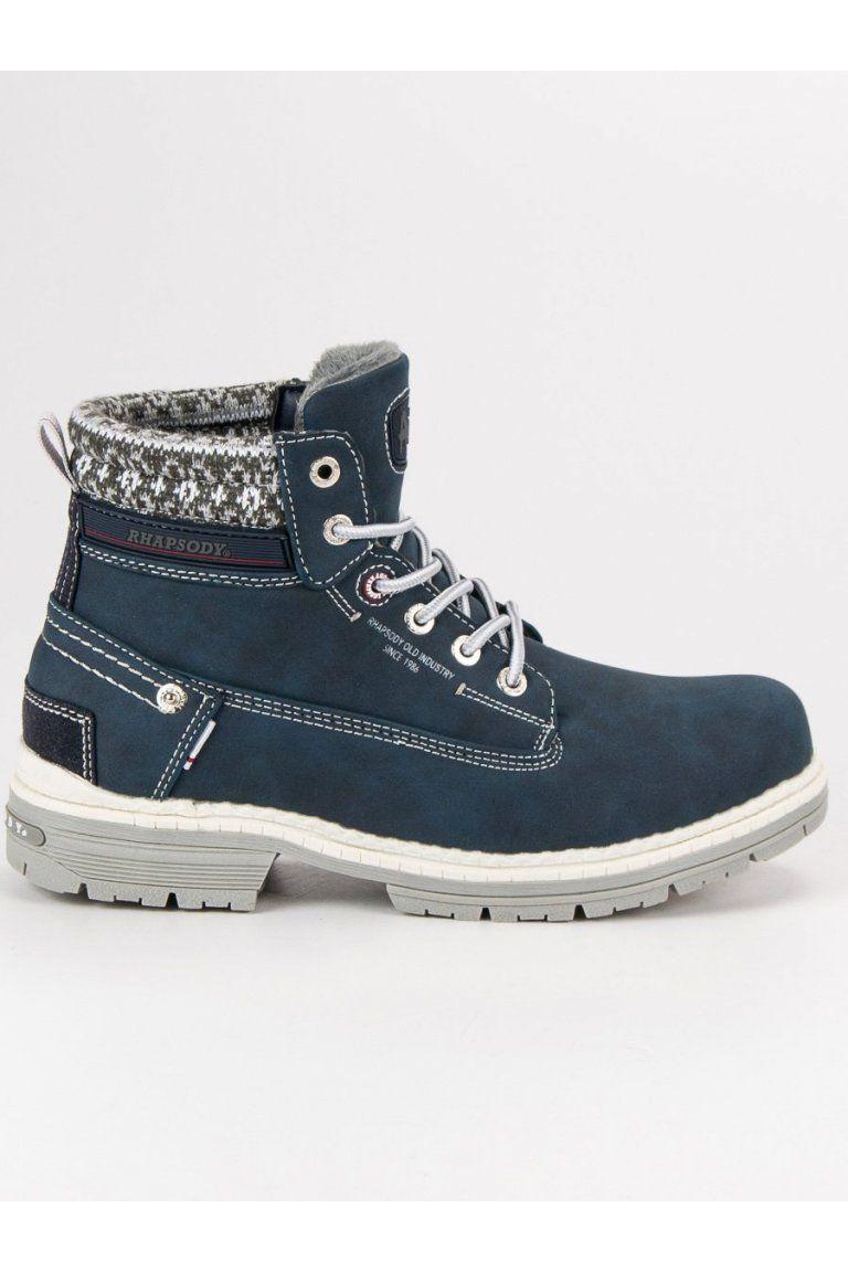 c91cd6fc3b Dámske modré členkové topánky na zimu trapery American Club