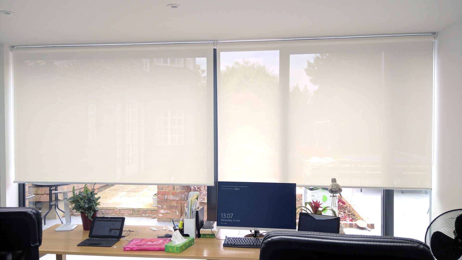 Basics roller blinds fitted in west norwood london for large sliding