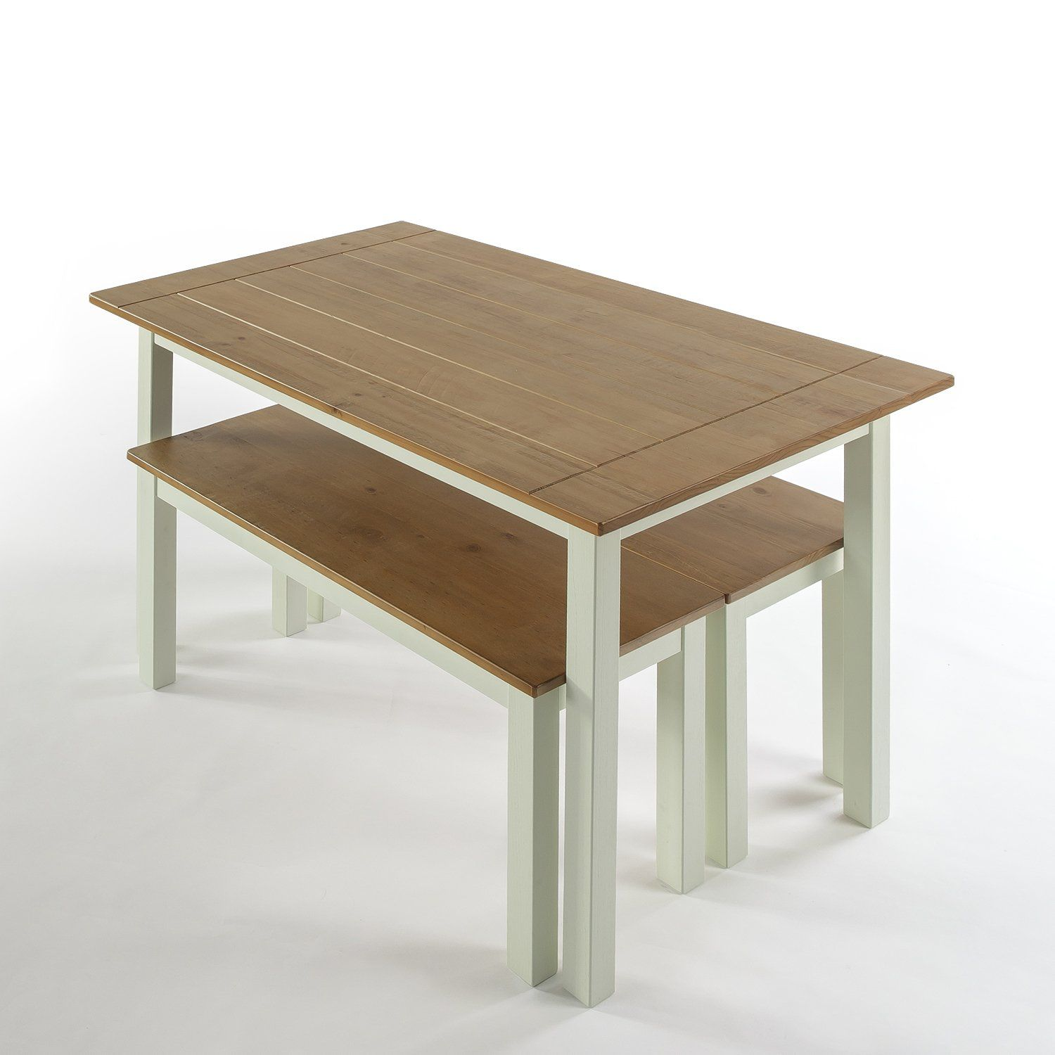 Zinus farmhouse dining table with two benches 3 piece