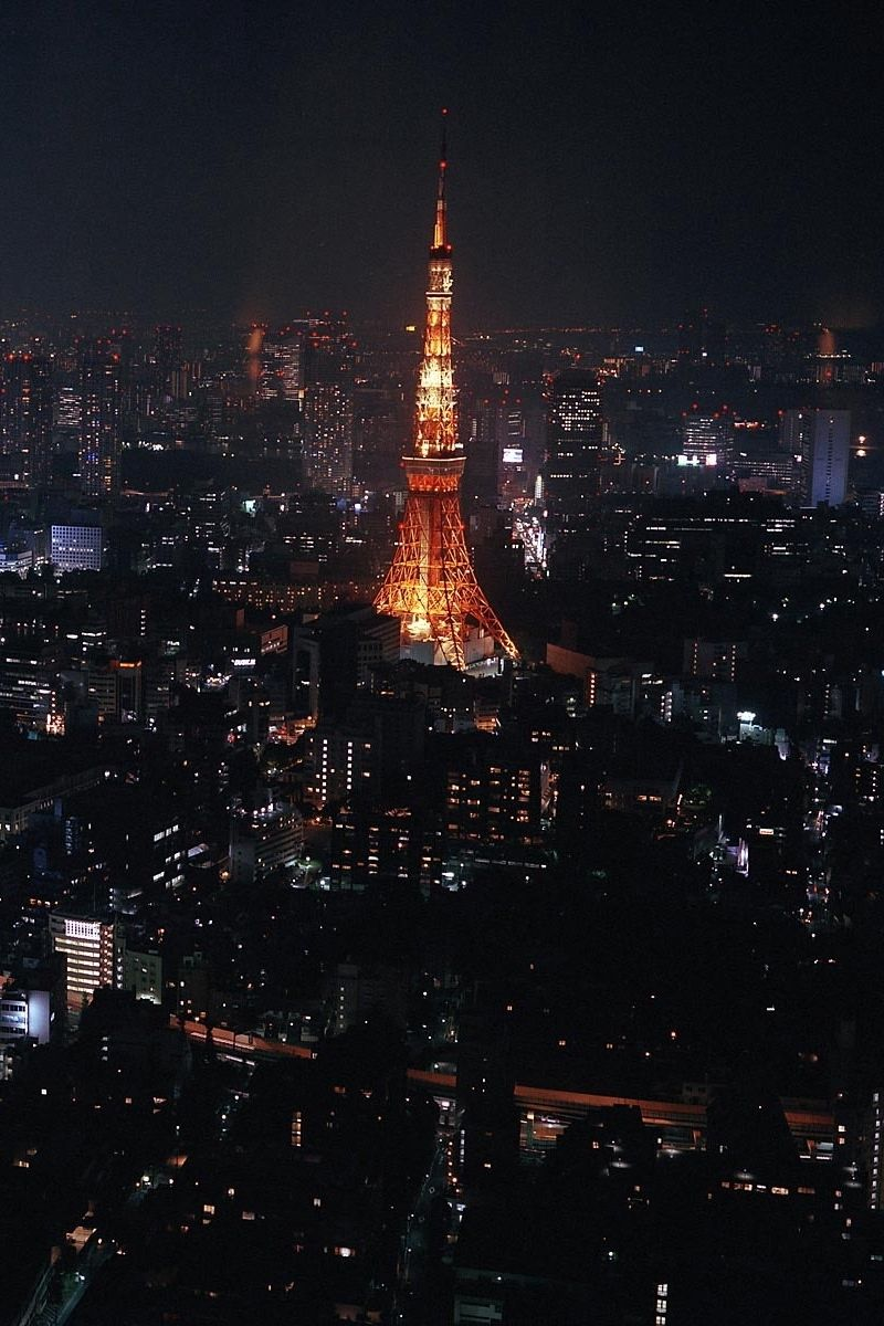 View Tokyo skyline at nite in Japan Eiffel tower at