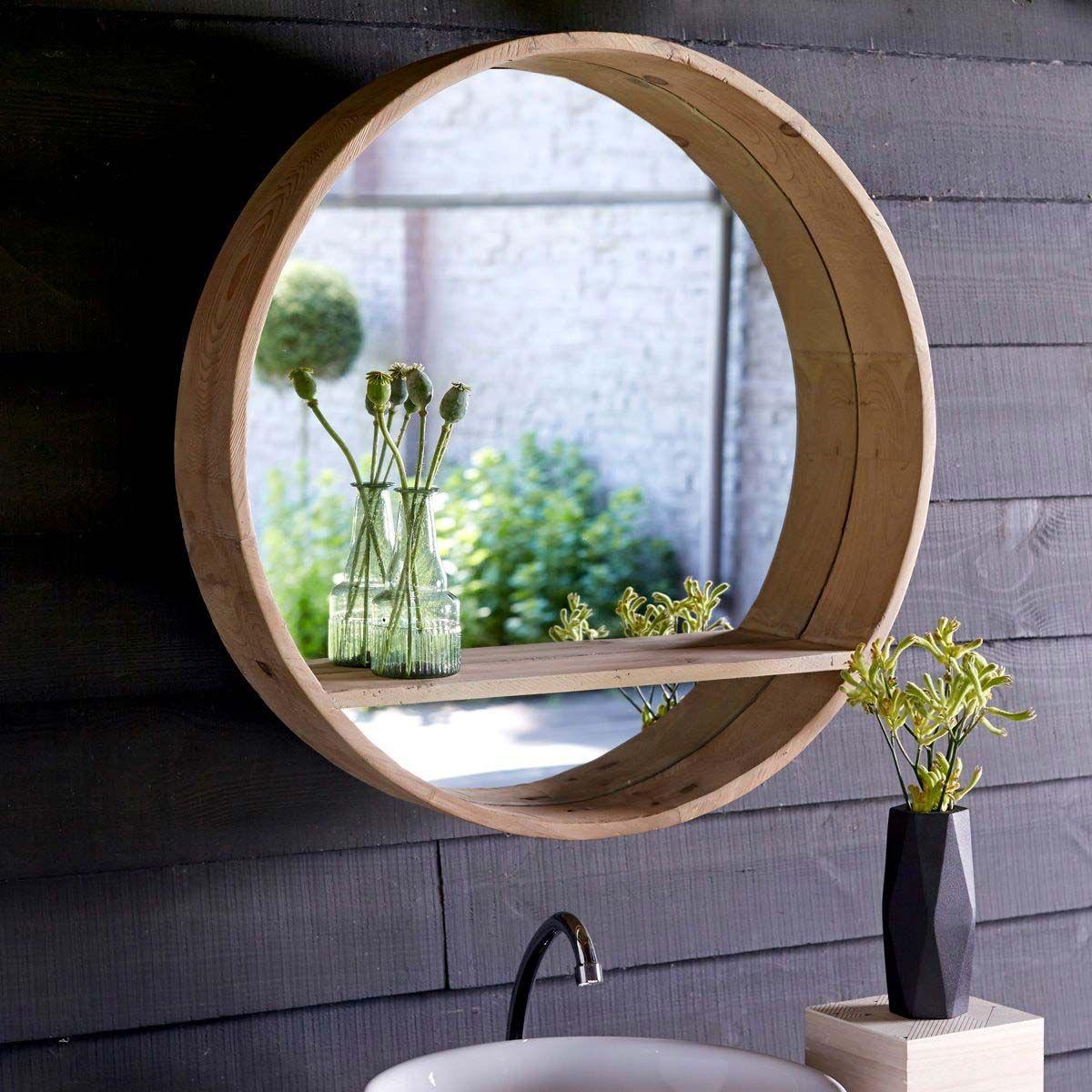 19 idées déco de miroir avec rangement | Miroir rond salle de bains, Miroir rond et Idée déco miroir