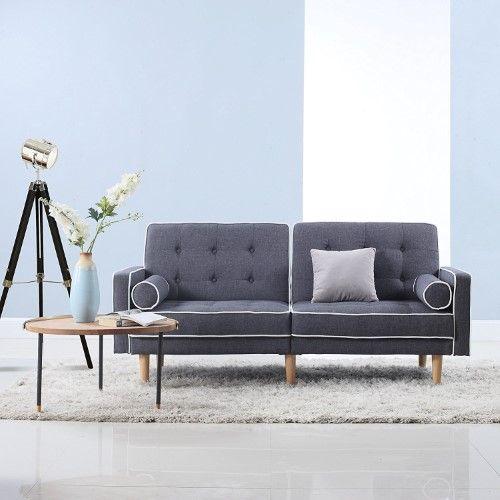 Awe Inspiring Mid Century Modern Splitback Tufted Linen Fabric Futon Squirreltailoven Fun Painted Chair Ideas Images Squirreltailovenorg