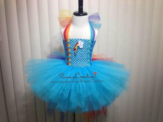 c81cb36ba8ee3 Rainbow Dash tutu set, My little pony outfit, Inspired. Halloween, Birthday  outfit, Rainbow dash, Rainbow top, Rainbow bustle skirt