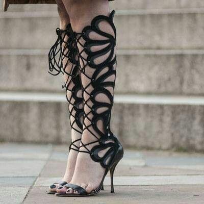 Black Lace Up Calf HeelsCool Costume Pieces Shoe BootsShoes F1lTuKJc3