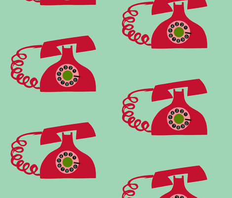 Big Red Phones fabric by boris_thumbkin on Spoonflower - custom fabric