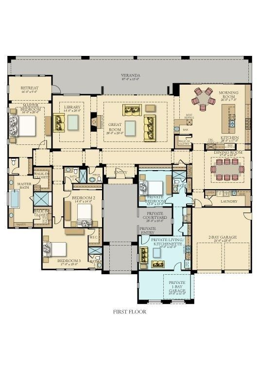Closest I Ve Ever Found Don T Really Need The Separate Entrance Living Quarters But Everything Else Courtyard House Plans Floor Plans Multigenerational House