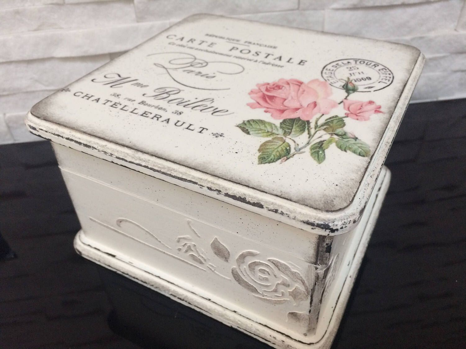Vintage decorated box Gift for her Jeweler shabby chic Handmade wooden jeweler Wooden box with decoupage and hand paint