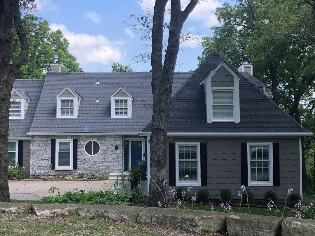 A Very Cool 1940 S House In The Beautiful Area Of Lake Quivira Where The Roof Lines Were Meeting In One Spot We Installed 8 Inch Gutter With Our Gutter Prote I 2020