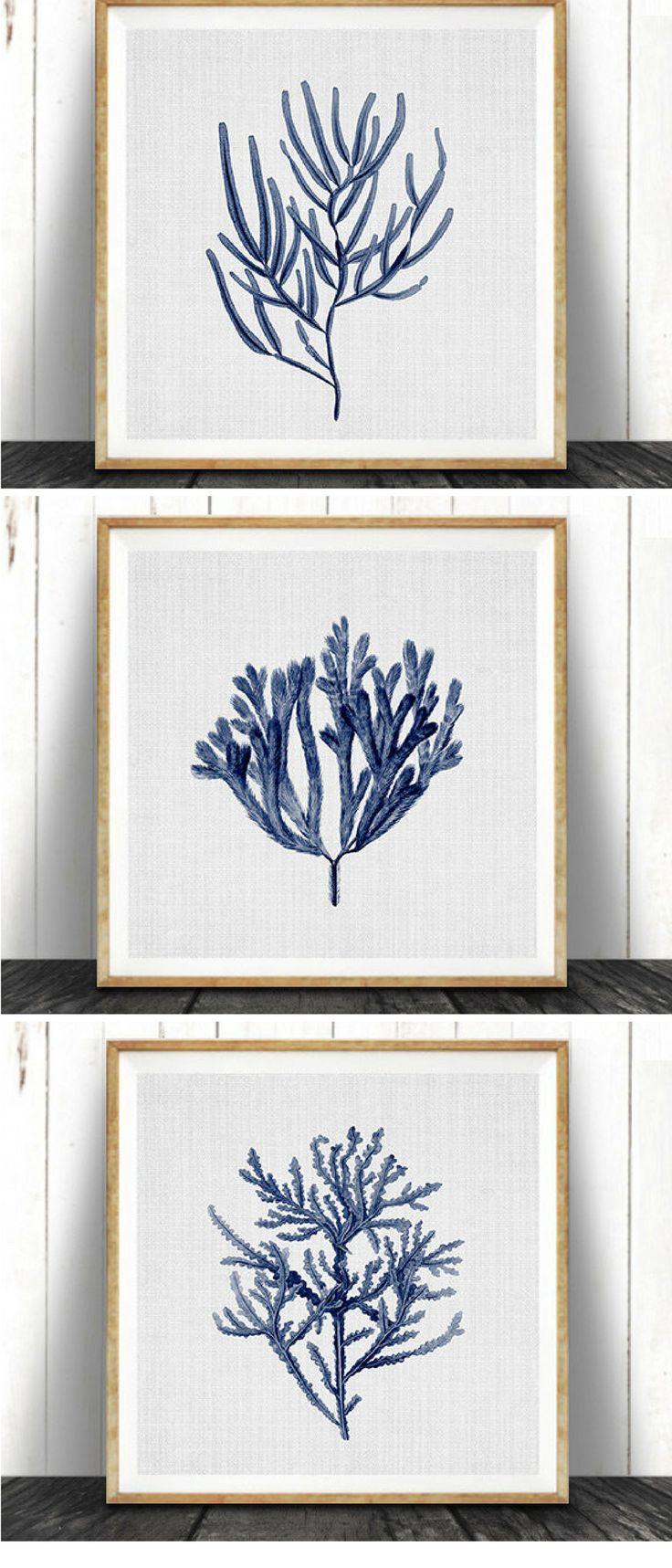 Blue coral wall art prints nautical or ocean home decor