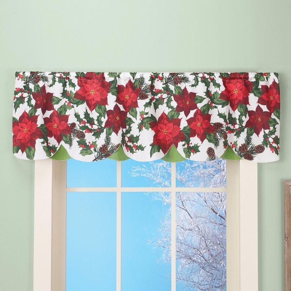 poinsettia flower pinecone holly window valance curtain winter