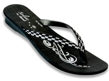 36b07c357295 Spruce up your casual look for the day wearing these black coloured Paragon  Solea slippers.