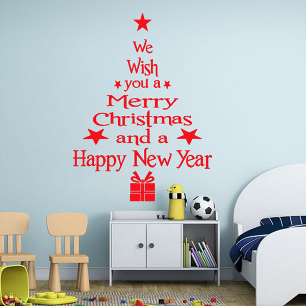 """Superbe stickers """"we wish you a merry christmas and a happy new year"""" - 3 couleurs (blanc, noir et rouge)"""
