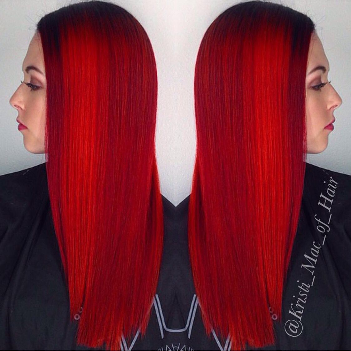 Fire Engine Red Hair Color By Kristi Mac Of Head Rush Salon