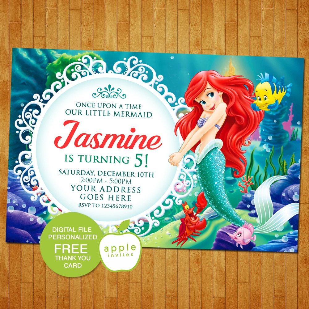 design birthday party invitations free%0A The Little Mermaid Invitation  The Little Mermaid Birthday  The Little  Mermaid Party  Ariel
