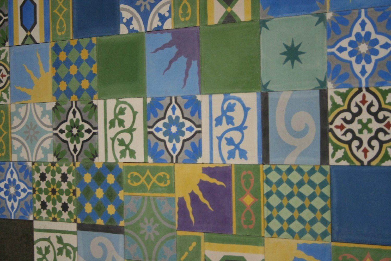 1 m buntes patchwork gr n blau gelb bunt 906 fliesen patchwork zementfliesen bunt gr n blau. Black Bedroom Furniture Sets. Home Design Ideas