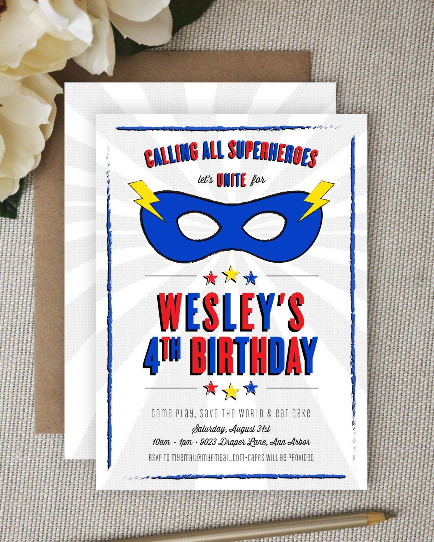 Super Hero Invitation. Superhero Invitation. Super Hero Party ...