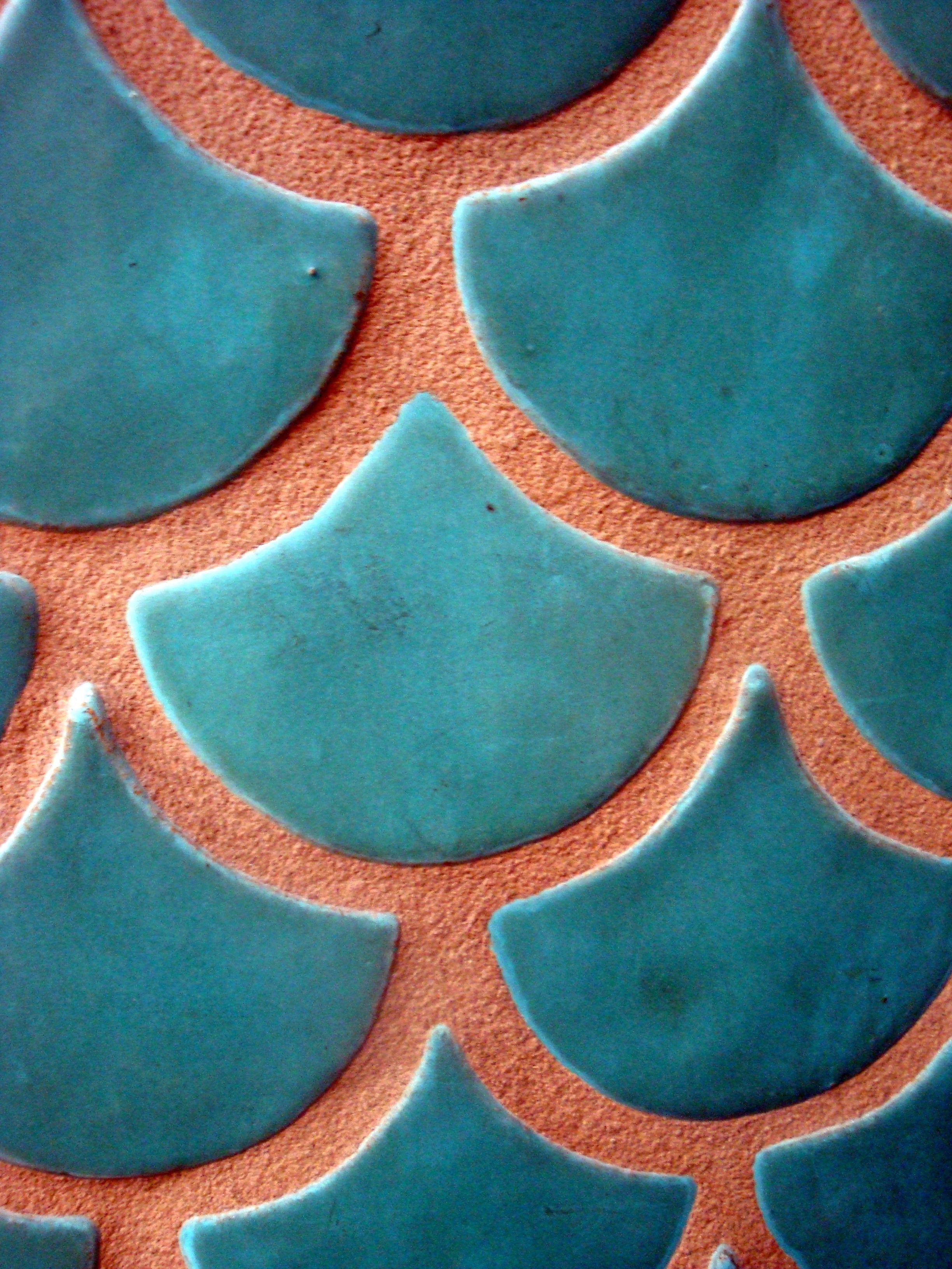 Gingko Leaf Tile Architecture Interiors Turquoise Tile