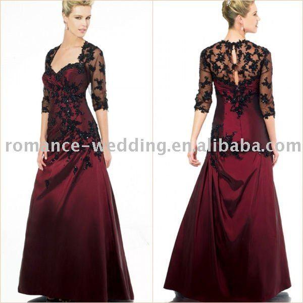 Mn0140 Glamorous Appliqued Taffeta Long Sleeve Bridesmaid Dress ...