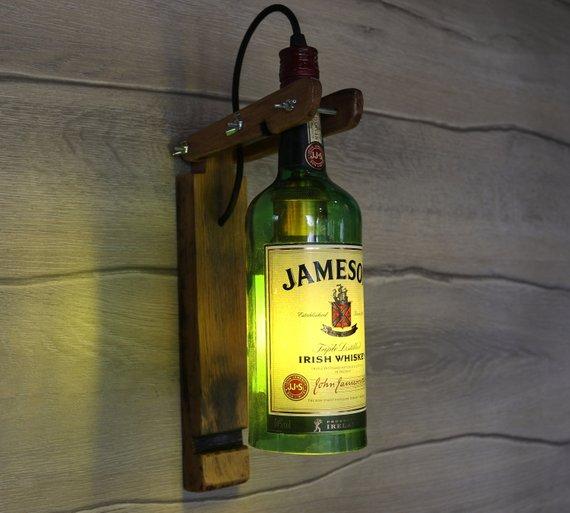Photo of Jameson Wall Lamp Jameson Whiskey Bottle Lamp Kitchen Decor Lamp Bar Decor Light Liquor Bottle Lamp Alcohol Bottle Lamp Bedroom Lamp