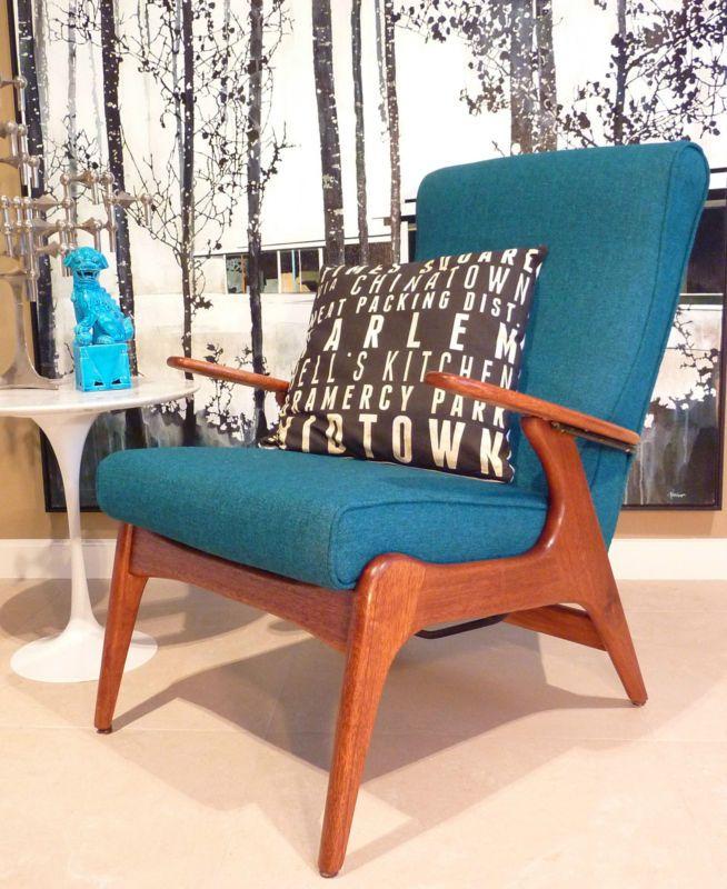 Fler Sc55 Wool Armchair Chair Retro Eames Fler Parker Teak Danish