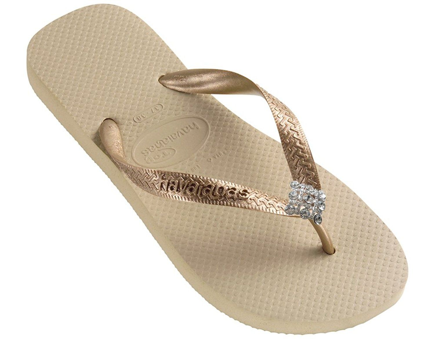 Dini's HAVAIANAS Fashion Jeweled Flip Flops Crystal Diamonds Women's Sandals