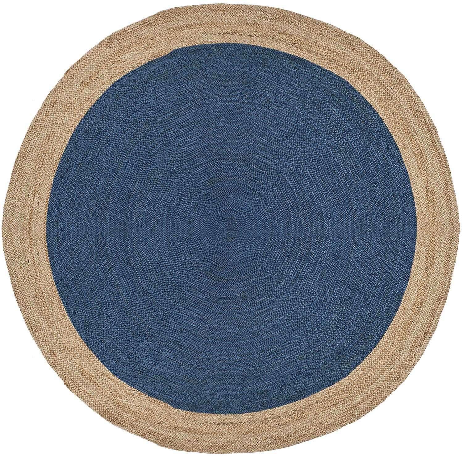 Safavieh Natural Fiber Collection Nf801d Hand Woven Royal Blue And Natural Jute Round Area Rug Round Area Rugs Colorful Rugs Area Rugs