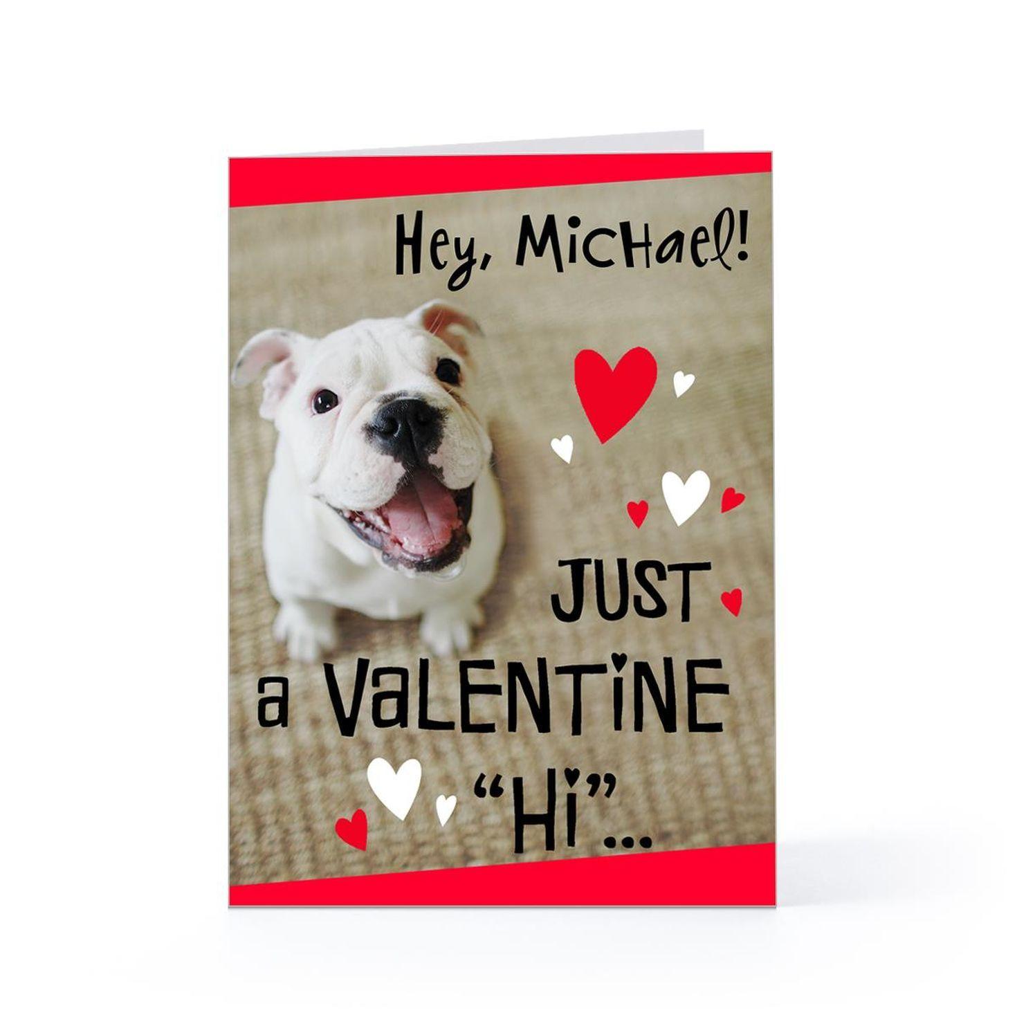 Dog with a valentine hi hallmark cards personalized
