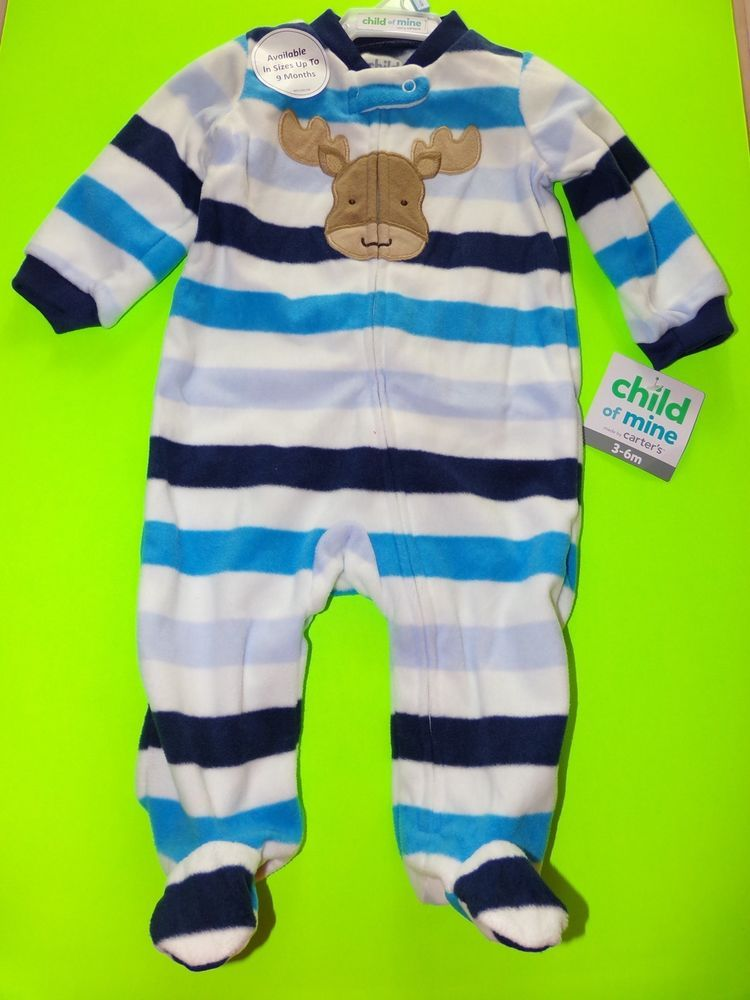 b1626d207b40 Carter s Child Of Mine Moose Striped Footie Pajamas NWT Size 3-6M ...