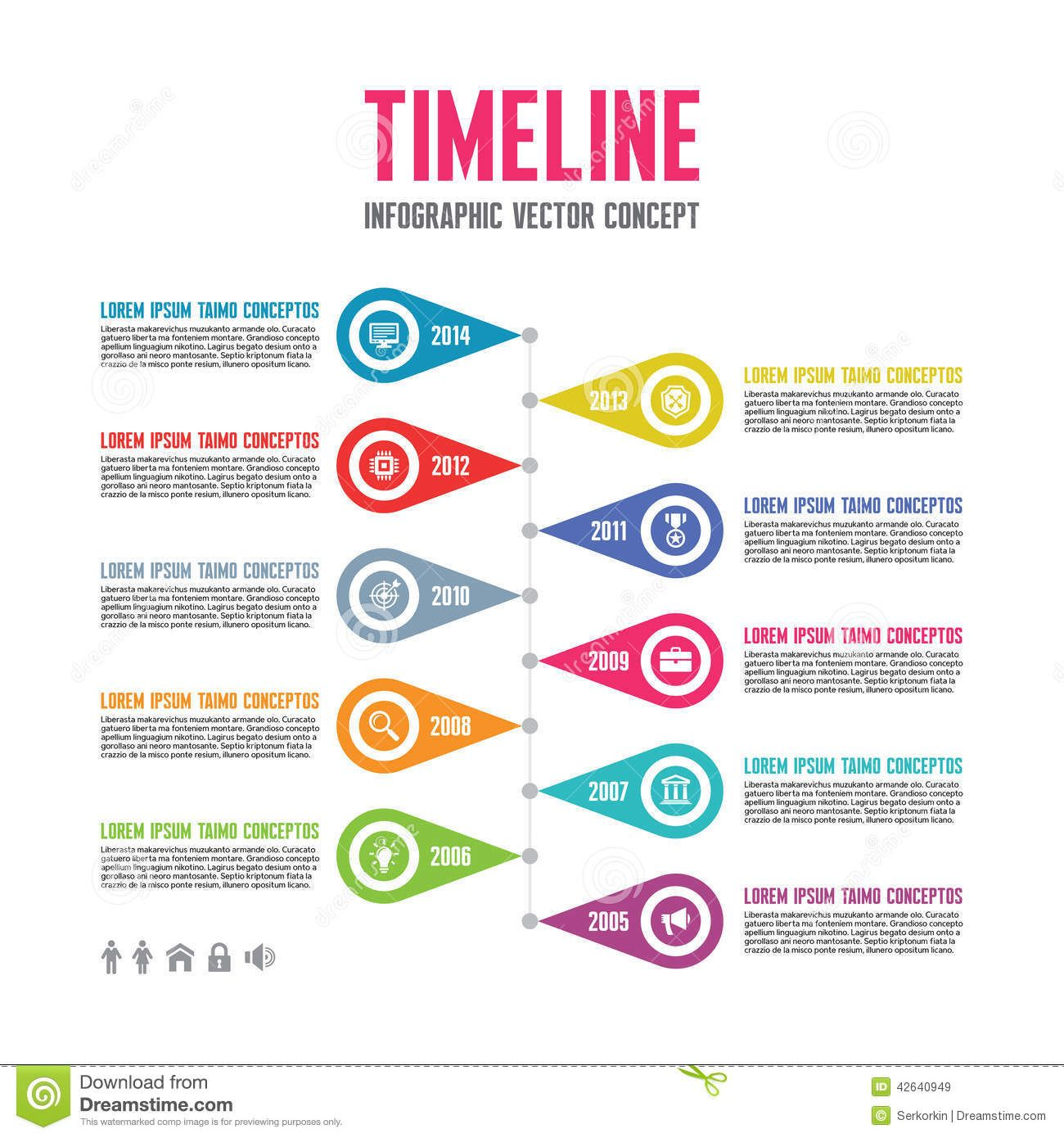 Infographic Vector Concept In Flat Design Style - Timeline ...