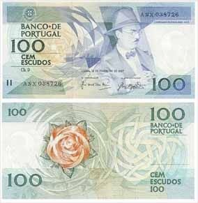 100 escudos 1987 O antigo dinheiro portugues antes do Euro (Old portuguese many before the Euro)