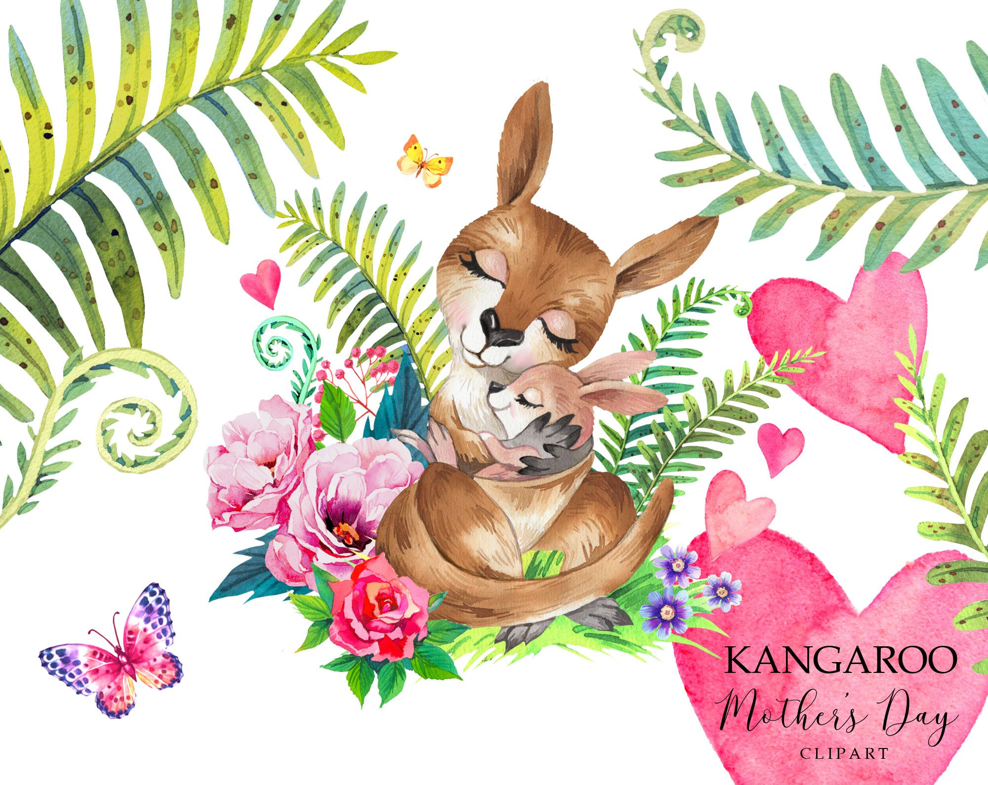 Mothers Day Clipart Kangaroo Clipart Watercolor Mom And Etsy Animal Clipart Clip Art Animals